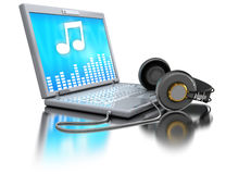 Music computer. 3d illustration of laptop computer with headphones Stock Photography