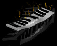 Music concept. Illustrated piano playing music in black background Stock Photos