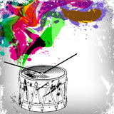 Music concept background, old drum Stock Photos
