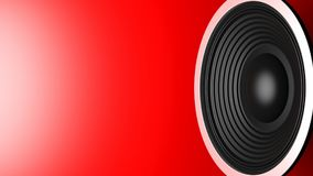 Black music speaker on red background, copy space. 3d illustration Stock Image