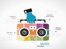 Music. Concept infographic template with cassette player made out of puzzle pieces Stock Image