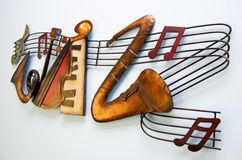 Music. Concept, instruments and al notes on stave stock photography
