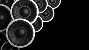 Multiple various size black sound speakers on black background, copy space. 3d illustration Stock Photos