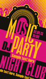 Music concept poster template. Music concept DJ party poster template and Audio speaker on fire Royalty Free Stock Image