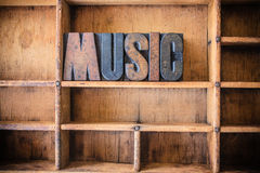 Music Concept Wooden Letterpress Theme Stock Photography