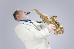 Music Concepts. Natural Portrait of Expressive Male Saxophone Mu Stock Photography