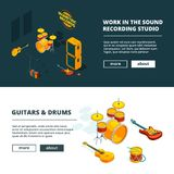 Music concepts. Vector banners template with illustrations of musical instruments. Recording studio 3d isometric, instrument musical illustration Stock Image