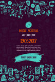 Music concert background. Festival modern flyer vector illustration. Music event Poster template design. Royalty Free Stock Photos