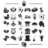 Music, Concert, Circus and other web icon in black style.Entertainment, Leisure, Hobbies, icons in set collection. Royalty Free Stock Image