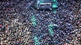 Music concert crowd aerial stock footage