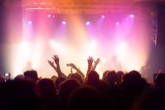 Music concert crowd, people enjoying live rock performance Stock Photo