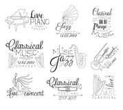 Music Concert Hand Drawn Banner Set Stock Images