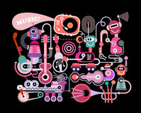 Music Concert. Modern music concert vector illustration isolated on a black background. Funny robots playing musical instruments Royalty Free Stock Photography