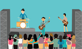 Music concert performance flat vector fun playing instrument young. Drawing Stock Image