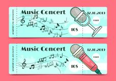 Music concert ticket template banners vector illustration. Concert, party or festival invitation with microphone and stock illustration