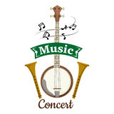 Music concert vector emblem with clef notes Royalty Free Stock Photo