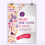 Music concert vector poster template. Can be used for printable promotion with lettering and doodle items. royalty free illustration