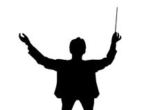 Music conductor back from a birds eye view. Silhouette of a music conductor back from a birds eye view. Isolated white background. EPS file available Stock Photos
