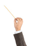 Music conductor hand. Isolated on white background Royalty Free Stock Photos