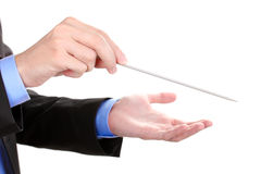 Music conductor hands with baton. Over the white Stock Images