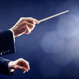 Music conductor hands orchestra Royalty Free Stock Image