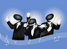 A music conductor with Musical Notes and Sound Wav Royalty Free Stock Photo