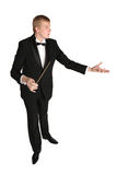 Music conductor at work. Music conductor with baton in hand Stock Photo