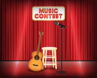 Music contest stage with guitar and microphone Royalty Free Stock Images