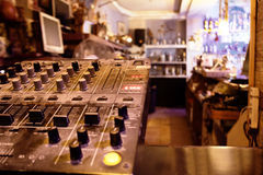 Music control center or deck in a retail store Royalty Free Stock Images