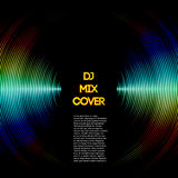 Music cover with waveform as a vinyl grooves. DJ mix cover with music waveform as a vinyl grooves Royalty Free Stock Images