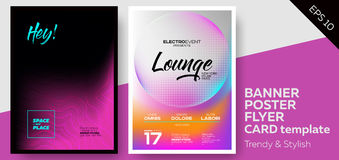 Music Covers for Summer Electronic Fest or Club Party Flyer. Lounge, Minimal, Techno, Deep Dark Styles. Template for DJ Poster, Web Banner, Pop-Up Royalty Free Stock Photos