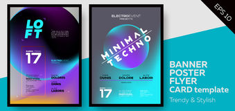 Music Covers for Summer Electronic Fest or Club Party Flyer. Minimal, Techno, Deep Dark Styles. Template for DJ Poster, Web Banner, Pop-Up Royalty Free Stock Photo