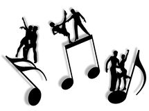 Music and dance. Couples dancing on notes in silhouette as symbol of music Stock Images