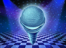 Music And Dance. Entertainment concept as a microphone over a dancing disco club floor with as a symbol of fun and party time in a nightclub or show stage with Stock Photo