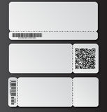 White ticket template with tear-off element, barcode and QR code isolated on transparent background. Music, Dance, Live Concert event entrance vector invitation Stock Image