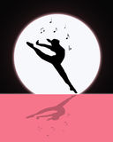 Music and Dance in the Moonlight. Silhouette of female dancing in the moonlight while music notes play above her Stock Photos