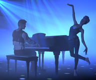 Music and dance. Young attractive performers on blue lighted stage. 3d illustration Royalty Free Stock Photos