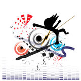 Music and Dancer Background. A dancer with colorful music and speaker background Stock Photo