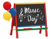 Music Day, Chalkboard Easel for Children, Balloons royalty free illustration