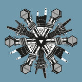 Music decoration. Snowflake with rock music elements. Design for New Year rock party Stock Images