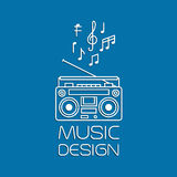 Music design with magnetic cassette player Royalty Free Stock Photos