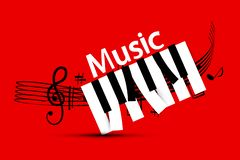 Music Design with Staff and Piano Keys. On Red Background vector illustration