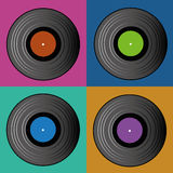 Music. Different cds on squares with different color Stock Photo