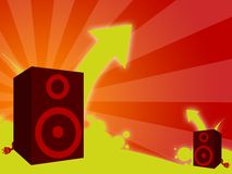 Music disco background. Music illustration with woofers, arrows and stripes Stock Photos