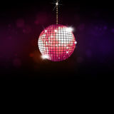 Music Disco Ball Background. Multicolor music disco ball party background with lights and stars Stock Illustration