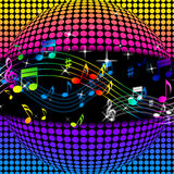 Music Disco Ball Background Shows Colorful Musical And Clubbing Stock Image