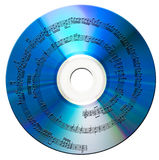 Music disk. Music with notes on compact disk. Isolated royalty free stock image