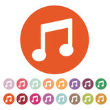 The music disk icon. Musical symbol. Flat Royalty Free Stock Images