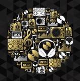 Music dj concept icon set vinyl cd shape gold Stock Images