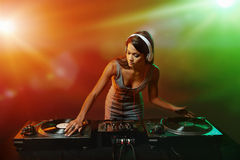 Music dj woman Stock Photo
